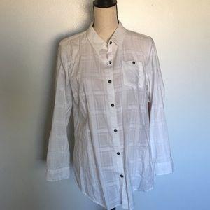 Ruff Hewn Medium Long sleeve plaid shirt white